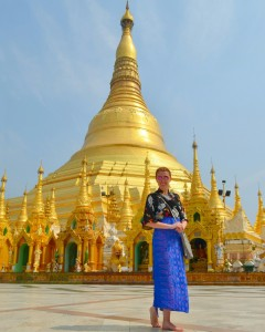 Nádherná Shwedagon Pagoda v Yangone.
