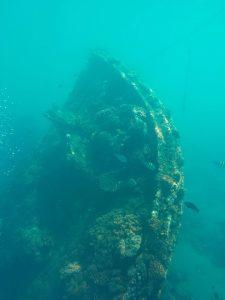Potopený japonský vrak.